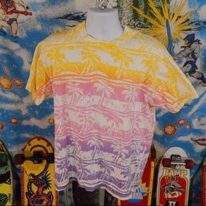 Zoo Crew Vintage All Over Palm Tree T-shirt L